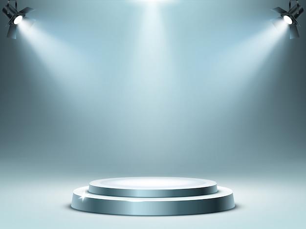 Etapa de podio redonda en rayos de focos, realista vector gratuito