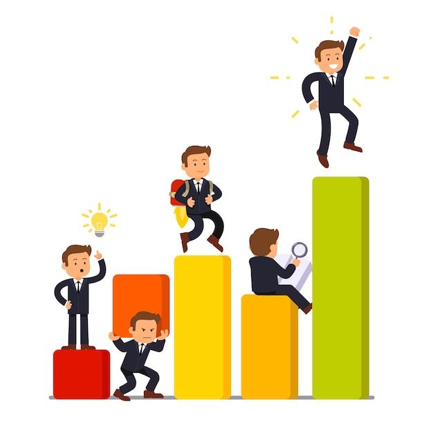 Etapas de desarrollo y crecimiento de negocios vector gratuito