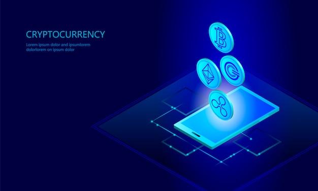 Ethereum bitcoin ripple coin digital cryptocurrency teléfono celular celular Vector Premium