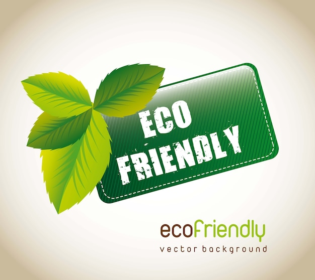 Etiqueta amistosa del eco con las hojas sobre fondo marrón. ilustración vectorial Vector Premium