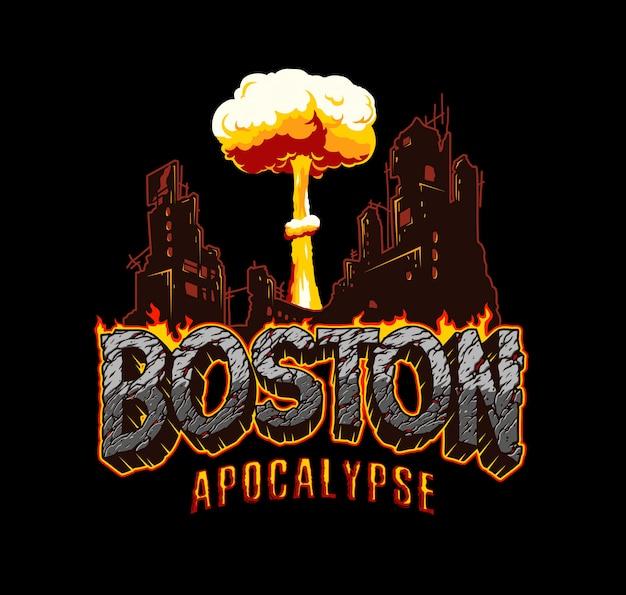 Etiqueta de apocalipsis vintage de boston vector gratuito