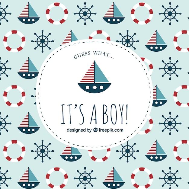 Etiqueta de bienvenida del bebé sobre patrón náutico | Descargar ...