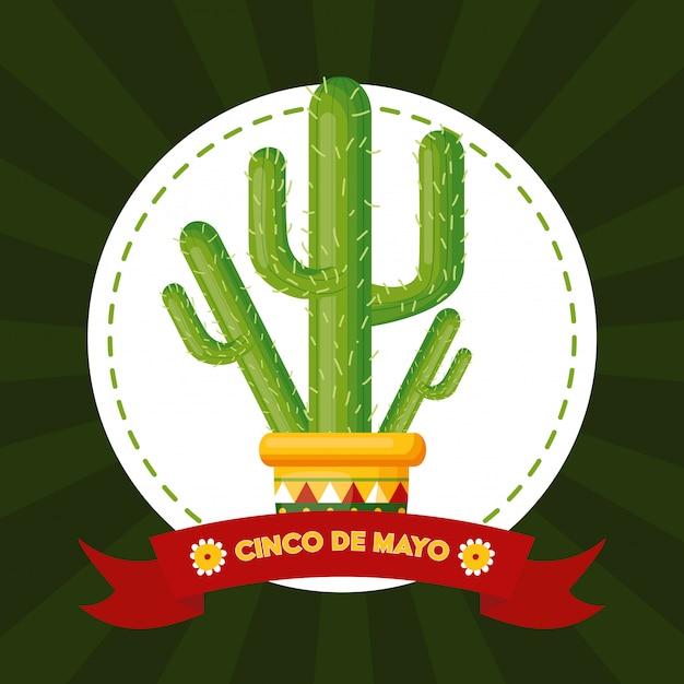 Etiqueta de cactus, cinco de mayo, ilustración de méxico vector gratuito