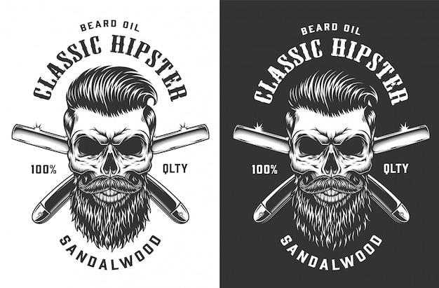 Etiqueta de calavera hipster monocromo vintage vector gratuito