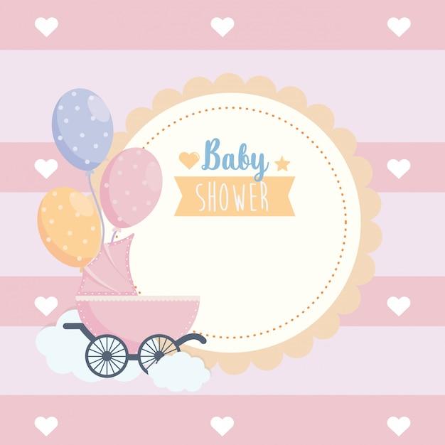 Etiqueta de la celebración del cartel de baby shower. vector gratuito
