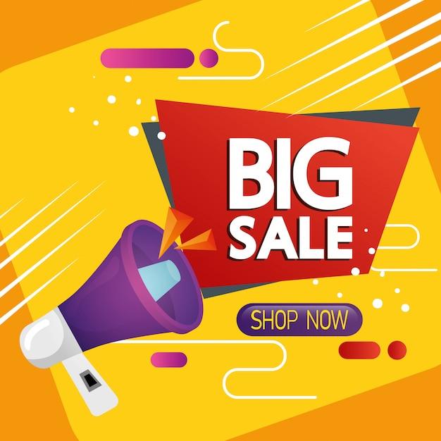 Etiqueta comercial con letras de gran venta y banner de megáfono vector gratuito