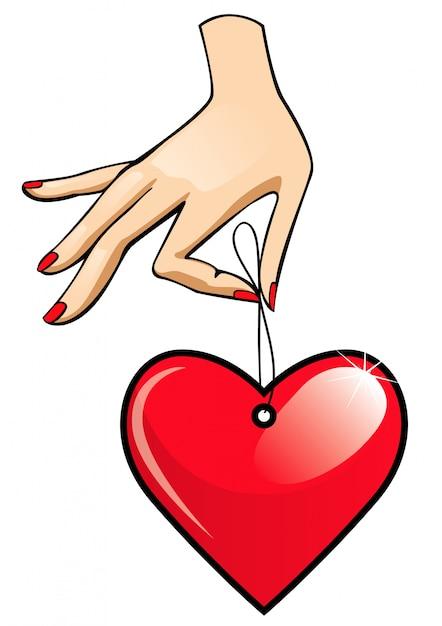 Etiqueta corazón en una mano | Descargar Vectores Premium