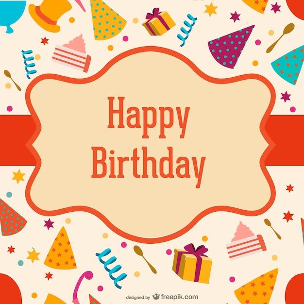 Etiqueta de cumpleaños sobre los sombreros y cajas vector gratuito