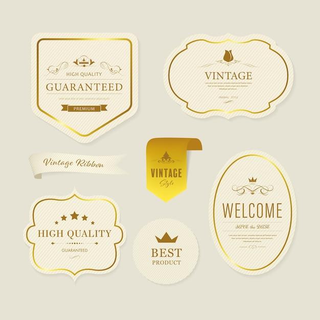 Etiqueta y decoración de banner de elemento vintage. Vector Premium