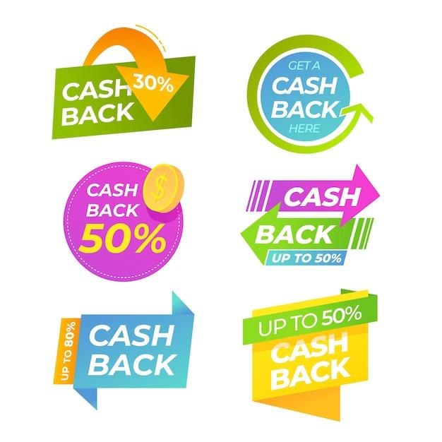 Etiqueta de devolución de efectivo con flechas vector gratuito