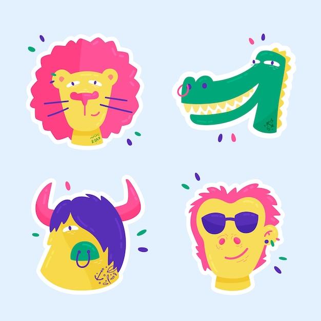 Etiqueta dibujada a mano con animales sonrientes vector gratuito