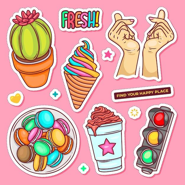 Etiqueta dibujada a mano doodle para colorear vector vector gratuito