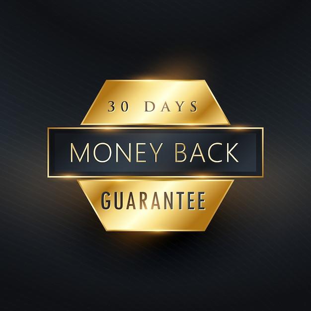 Etiqueta dorada de garantía de devolución de dinero vector gratuito