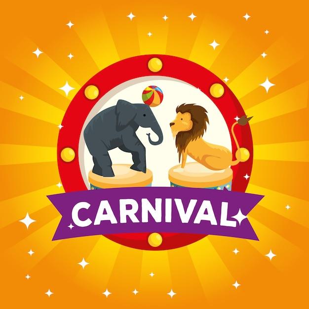 Etiqueta de elefante y león jugando con pelota al carnaval Vector Premium