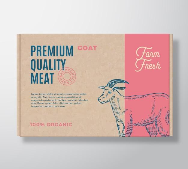 Etiqueta de empaquetado de carne de cabra de primera calidad en un contenedor de caja de cartón artesanal. vector gratuito