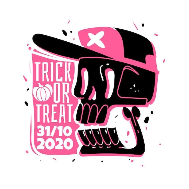 Etiqueta engomada del cráneo de halloween Vector Premium