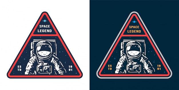 Etiqueta espacial con set de astronauta vector gratuito