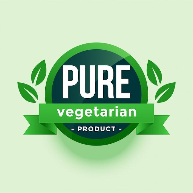 Etiqueta de hojas verdes de producto vegetariano puro vector gratuito