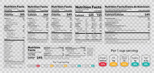 Etiqueta de información nutricional. ilustración. conjunto de tablas de información alimentaria. Vector Premium