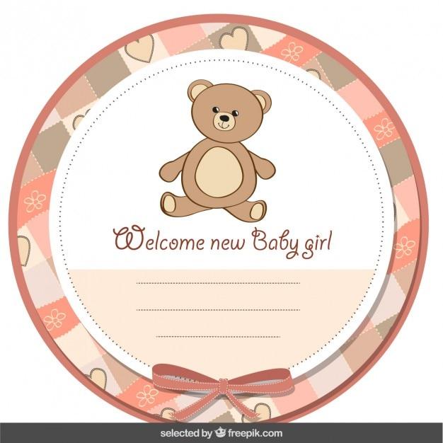 Etiqueta linda de bienvenida del bebé con el oso de peluche ...