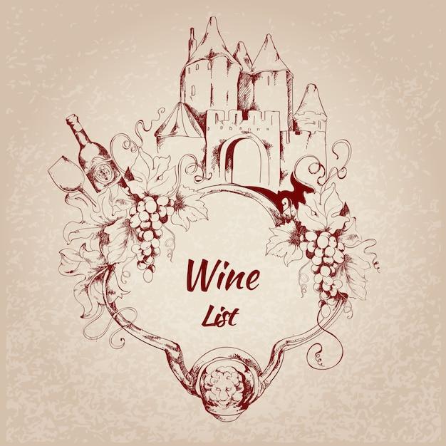 Etiqueta de lista de vinos vector gratuito