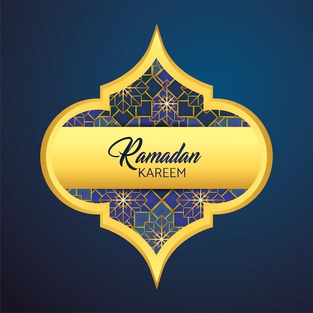 Etiqueta con luna y estrellas a ramadan kareem. vector gratuito