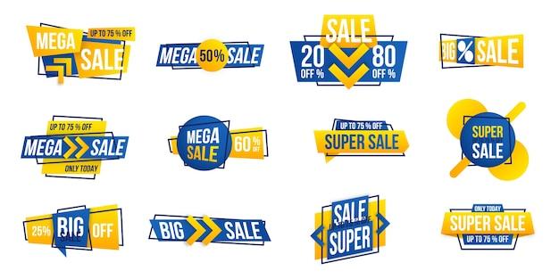 Etiqueta de mega venta de año nuevo. Vector Premium