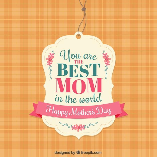 Etiqueta de la mejor mamá vector gratuito