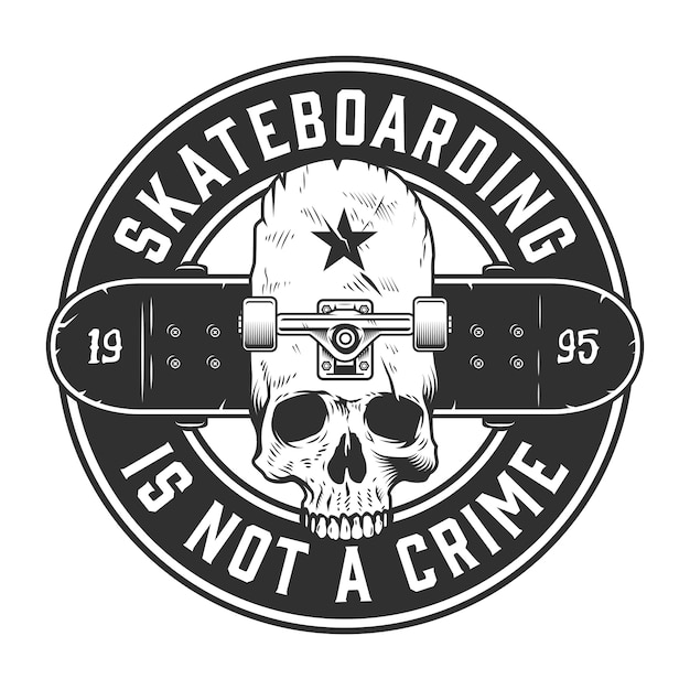 Etiqueta monocroma vintage skateboarding vector gratuito