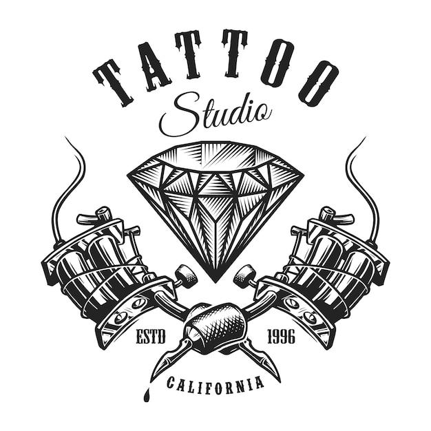 Etiqueta monocromática de tatuaje vintage vector gratuito