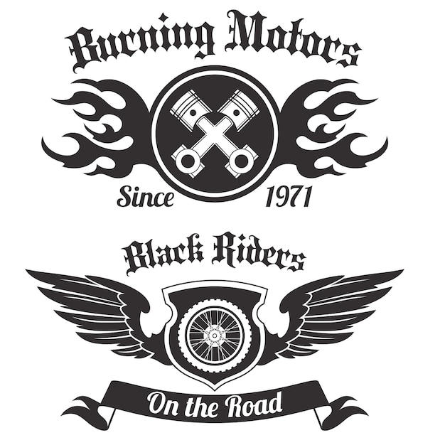 Etiqueta de la motocicleta negro vector gratuito