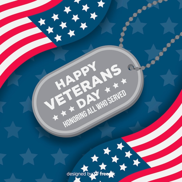 Etiqueta de nombre del día de los veteranos con bandera americana vector gratuito
