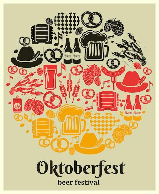 Etiqueta del oktoberfest beer festival en los colores nacionales alemanes en un diseño redondo con cerveza alemana en botellas puede jarra de vidrio barril o barril barril lúpulo salchicha de cebada pretzel y un corazón vector gratuito