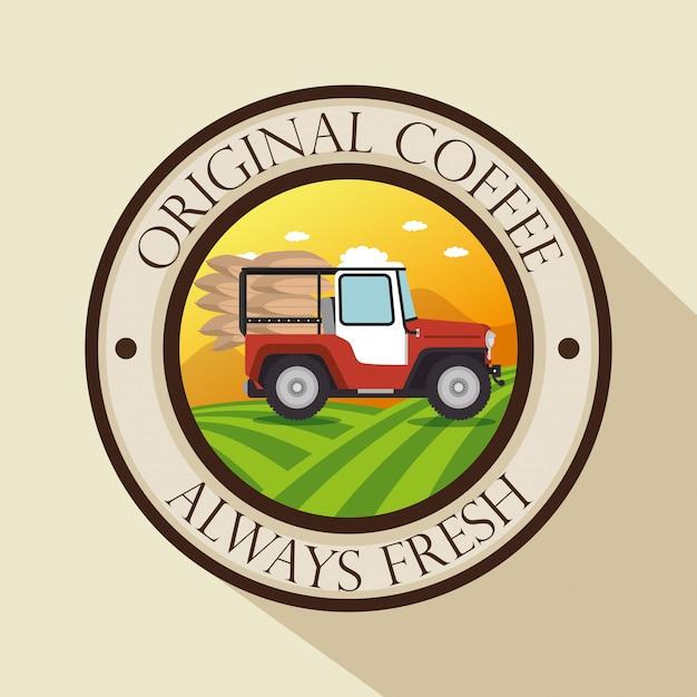 Etiqueta original de café con transporte vector gratuito