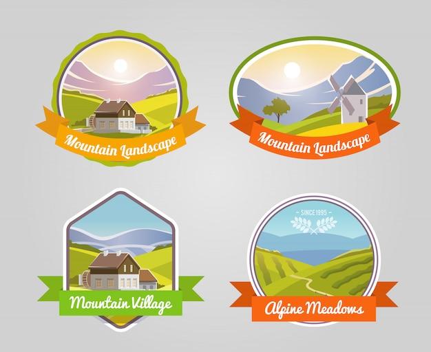 Etiqueta de paisaje de montaña vector gratuito