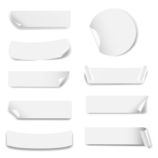 Etiqueta de papel aislado fondo blanco Vector Premium