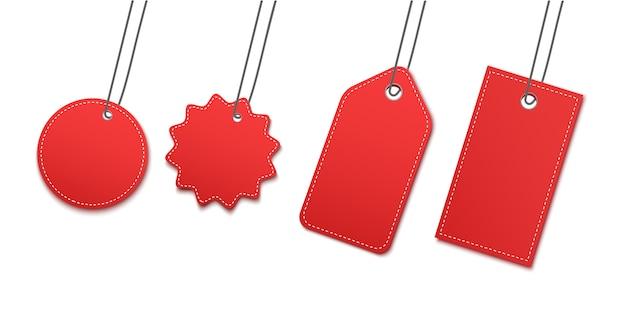 Etiqueta de papel colgante en blanco o etiqueta de tela. Vector Premium