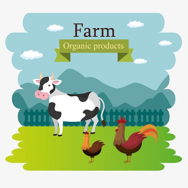 Etiqueta de productos orgánicos de escena de la granja vector gratuito
