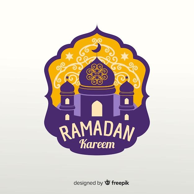 Etiqueta de ramadán en diseño plano vector gratuito