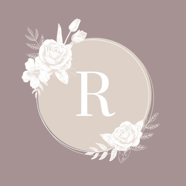 Etiqueta redonda de flores vector gratuito