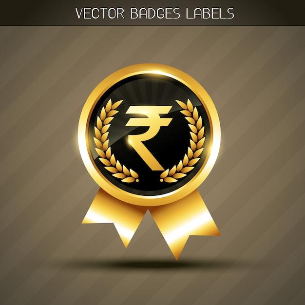 Etiqueta de símbolo de rupia Vector Premium