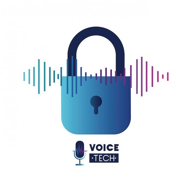 Etiqueta de tecnología de voz con candado de seguridad. Vector Premium