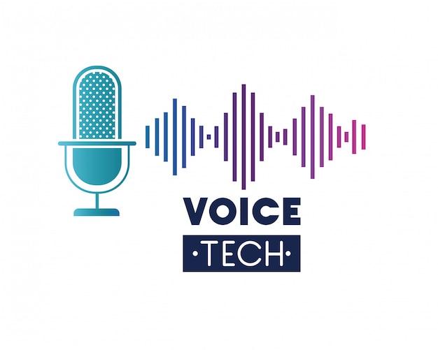 Etiqueta de tecnología de voz con micrófono y onda de sonido. Vector Premium
