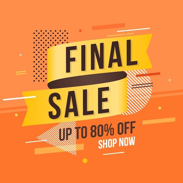 Etiqueta de venta con fondo abstracto naranja vector gratuito