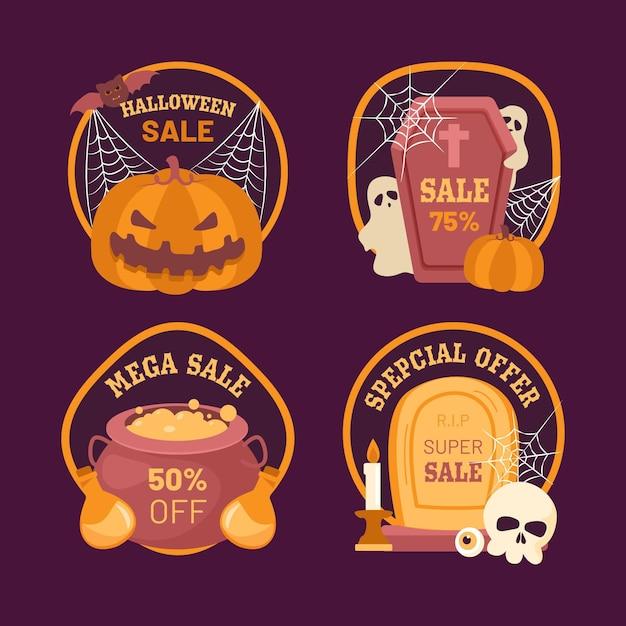 Etiqueta de venta de halloween vector gratuito