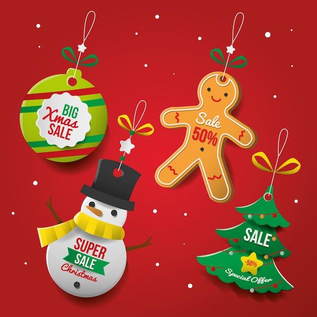 Etiqueta de venta navideña en papel vector gratuito