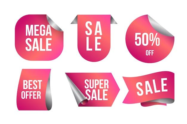 Etiqueta de venta realista en colección de tonos rosa degradados vector gratuito