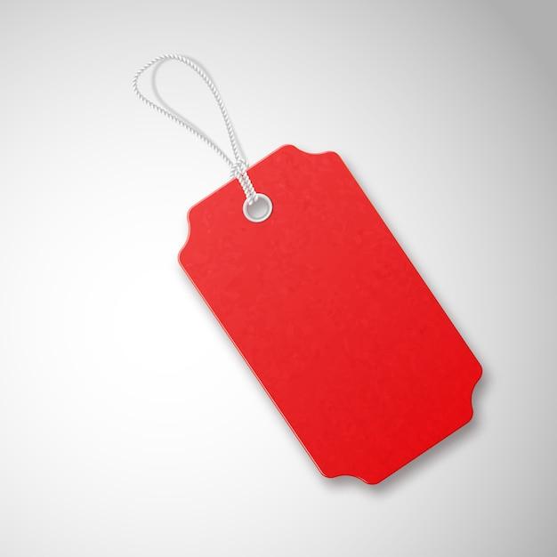 Etiqueta de venta con textura realista rojo con cuerda. Vector Premium