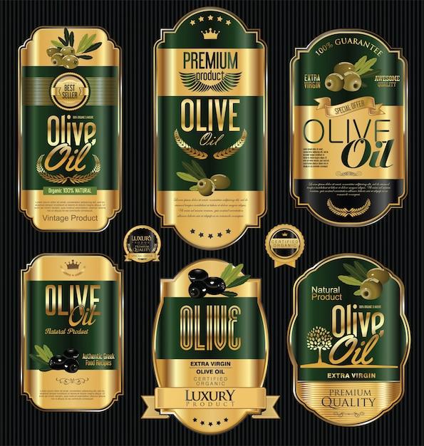 Etiquetas de aceite de oliva Vector Premium