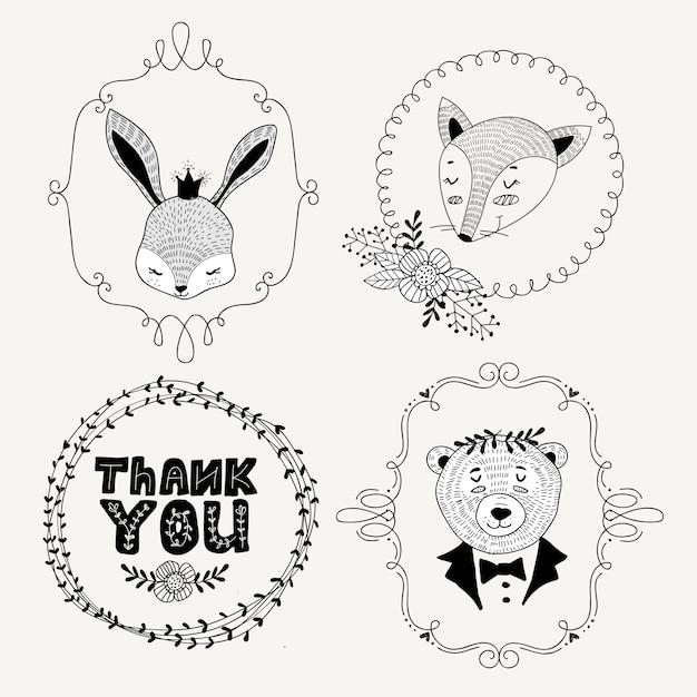 Etiquetas de animales dibujados a mano lindo estilo doodle Vector Premium